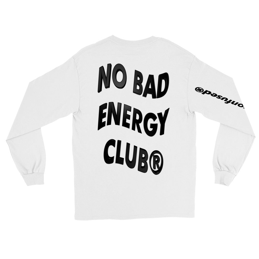 BADVIBESONLY® NO BAD ENERGY CLUB WHITE LONG SLEEVE TEE (BACK)