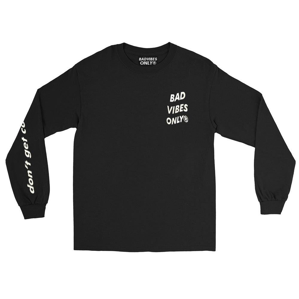 BADVIBESONLY® NO BAD ENERGY CLUB® BLACK LONG SLEEVE TEE (FRONT)