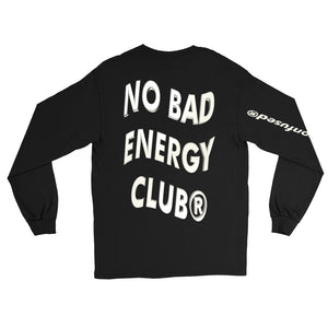 BADVIBESONLY® NO BAD ENERGY CLUB® BLACK LONG SLEEVE TEE (BACK)