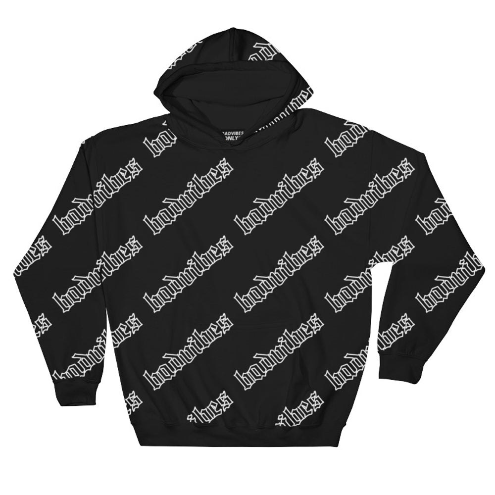 BADVIBESONLY® BADVIBES BLACK ALL OVER HOODIE (FRONT)