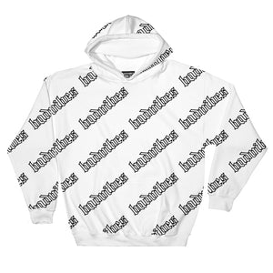 BADVIBESONLY® BADVIBES WHITE ALL OVER HOODIE (FRONT)