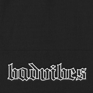 BADVIBESONLY® BADVIBES BLACK CUFFED BEANIE (ZOOMED IN)