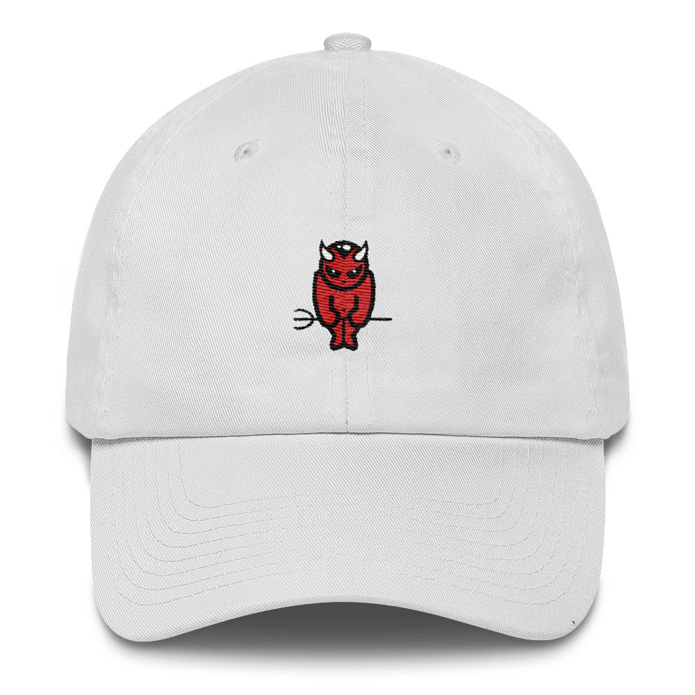 BADVIBESONLY® DEVIL LOGO WHITE BASEBALL CAP (FRONT)