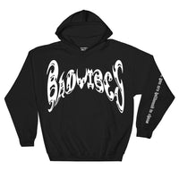 BADVIBESONLY® BLACK/WHITE CHAOS HOODIE (FRONT)