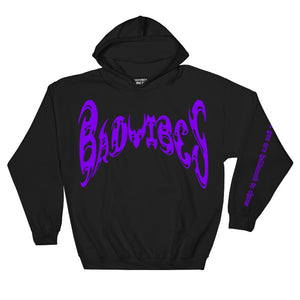 BADVIBESONLY® BLACK/PURPLE CHAOS HOODIE (FRONT)