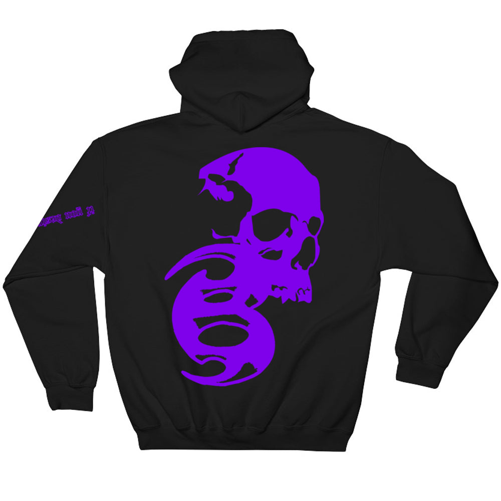 BADVIBESONLY® BLACK/PURPLE CHAOS HOODIE (BACK)