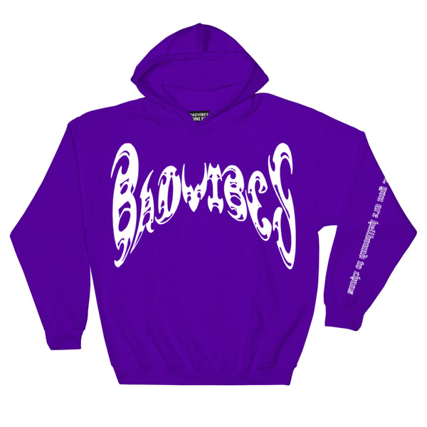 BADVIBESONLY® PURPLE/WHITE CHAOS HOODIE (FRONT)