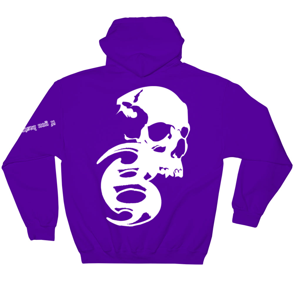 BADVIBESONLY® PURPLE/WHITE CHAOS HOODIE (BACK)