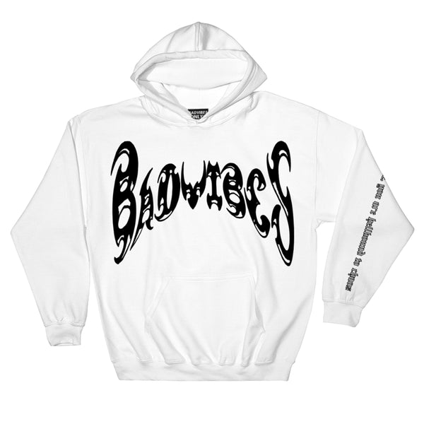 BADVIBESONLY® WHITE/BLACK CHAOS HOODIE (FRONT)