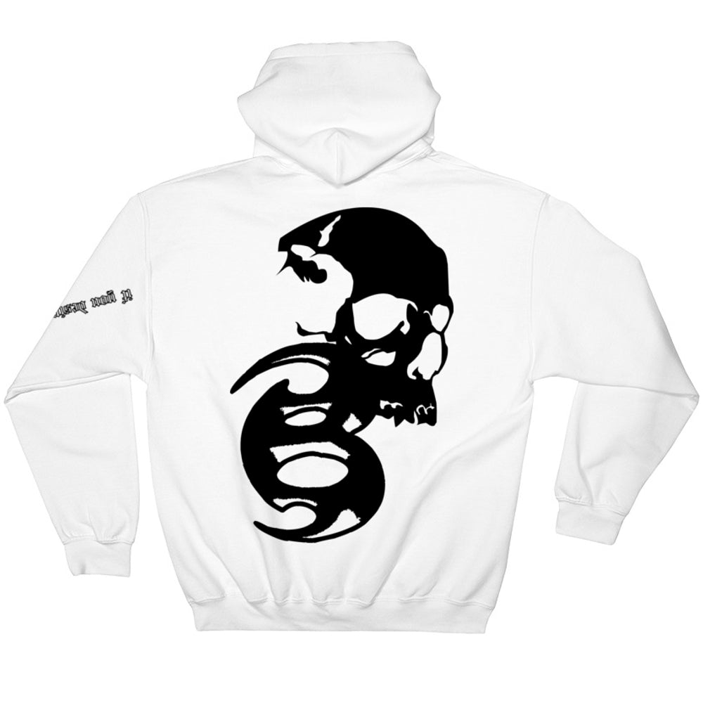 BADVIBESONLY® WHITE/BLACK CHAOS HOODIE (BACK)