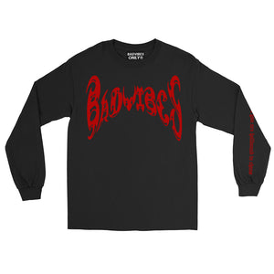 BADVIBESONLY® BLACK/RED CHAOS LONG SLEEVE T-SHIRT (FRONT)