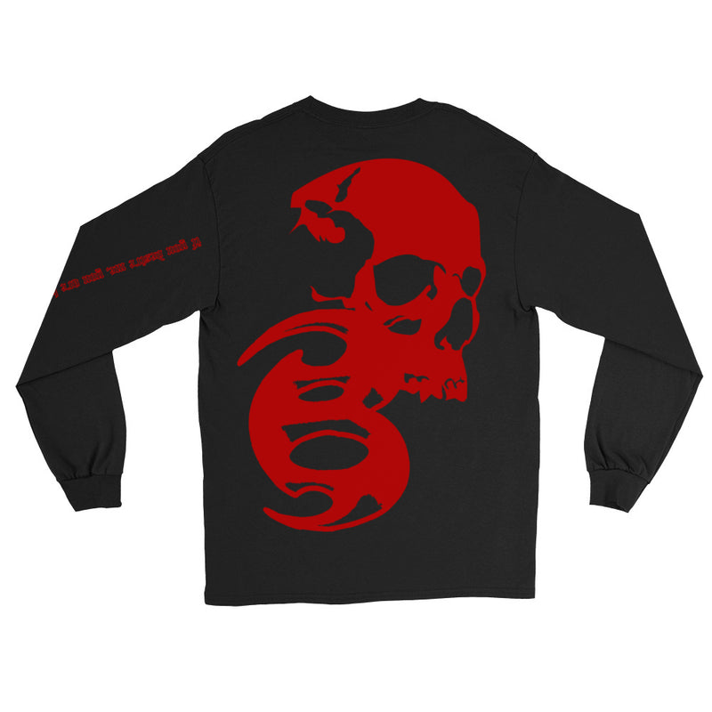 BADVIBESONLY® BLACK/RED CHAOS LONG SLEEVE T-SHIRT (BACK)