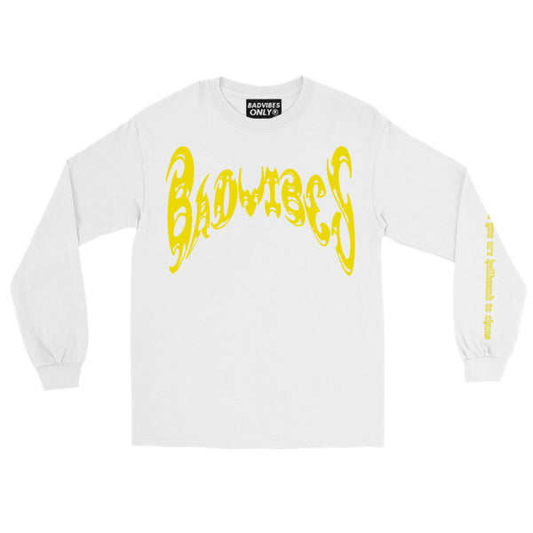 BADVIBESONLY® WHITE/YELLOW CHAOS LONG SLEEVE T-SHIRT (FRONT)