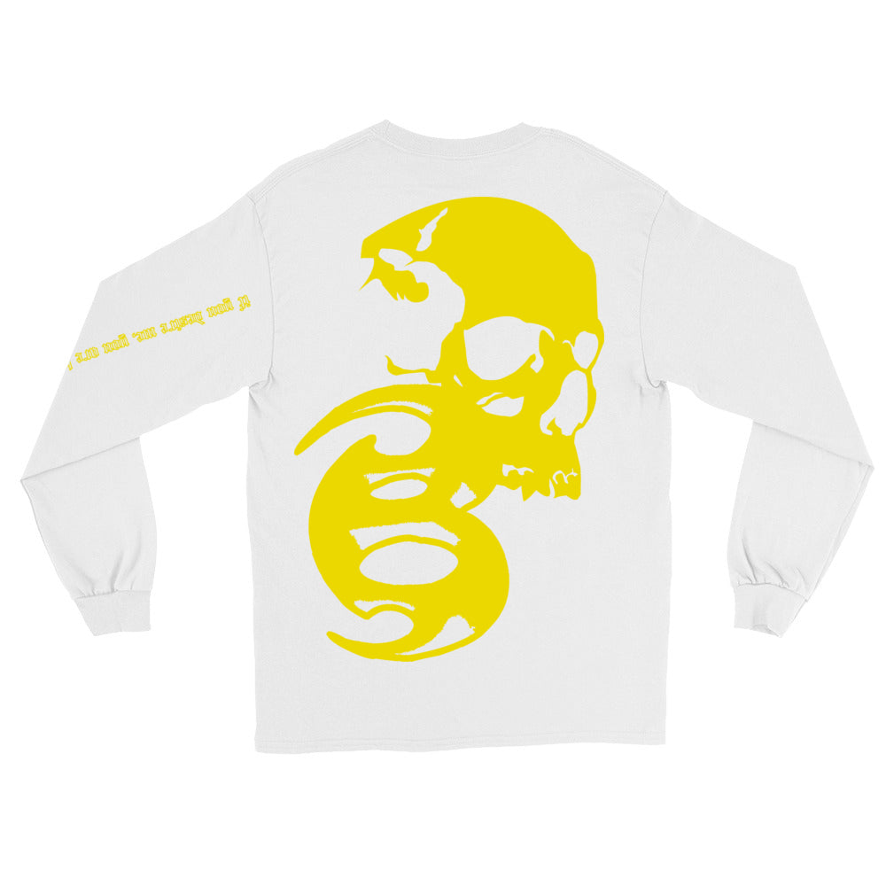 BADVIBESONLY® WHITE/YELLOW CHAOS LONG SLEEVE T-SHIRT (BACK)