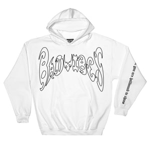 BADVIBESONLY® WHITE/BLACK OUTLINE CHAOS HOODIE (FRONT)