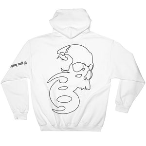 BADVIBESONLY® WHITE/BLACK OUTLINE CHAOS HOODIE (BACK)