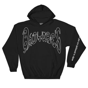BADVIBESONLY® BLACK/WHITE OUTLINE CHAOS HOODIE (FRONT)