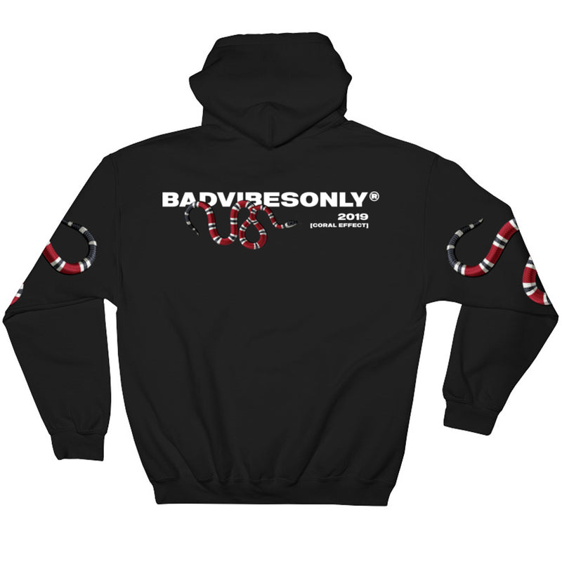 BADVIBESONLY® BLACK CORAL EFFECT HOODIE (BACK)