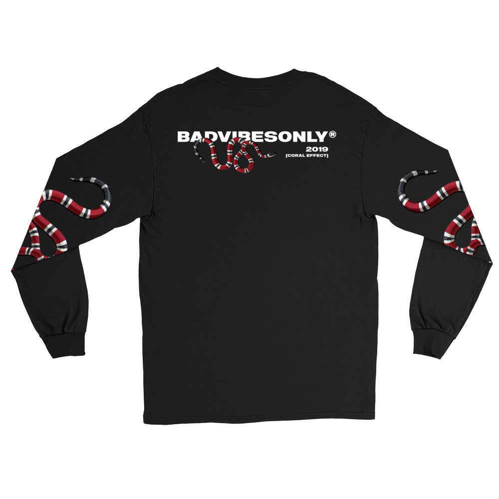BADVIBESONLY® BLACK CORAL EFFECT LONG SLEEVE T-SHIRT (BACK)
