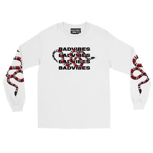 BADVIBESONLY® WHITE CORAL EFFECT LONG SLEEVE T-SHIRT (FRONT)