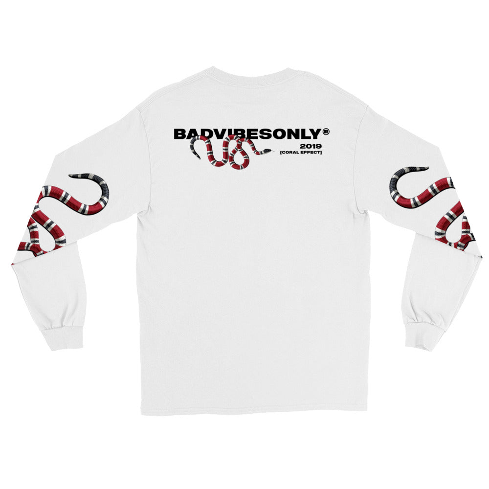 BADVIBESONLY® WHITE CORAL EFFECT LONG SLEEVE T-SHIRT (BACK)