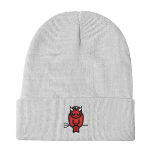 BADVIBESONLY® DEVIL LOGO WHITE CUFFED BEANIE (FRONT)