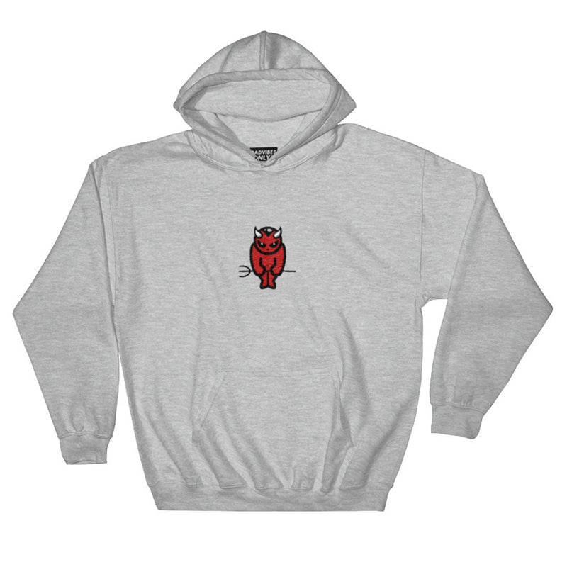 BADVIBESONLY® DEVIL EMBROIDERED HEATHER GREY HOODIE (FRONT)