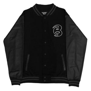 BADVIBESONLY® BLACK/BLACK LETTERMAN JACKET (FRONT)
