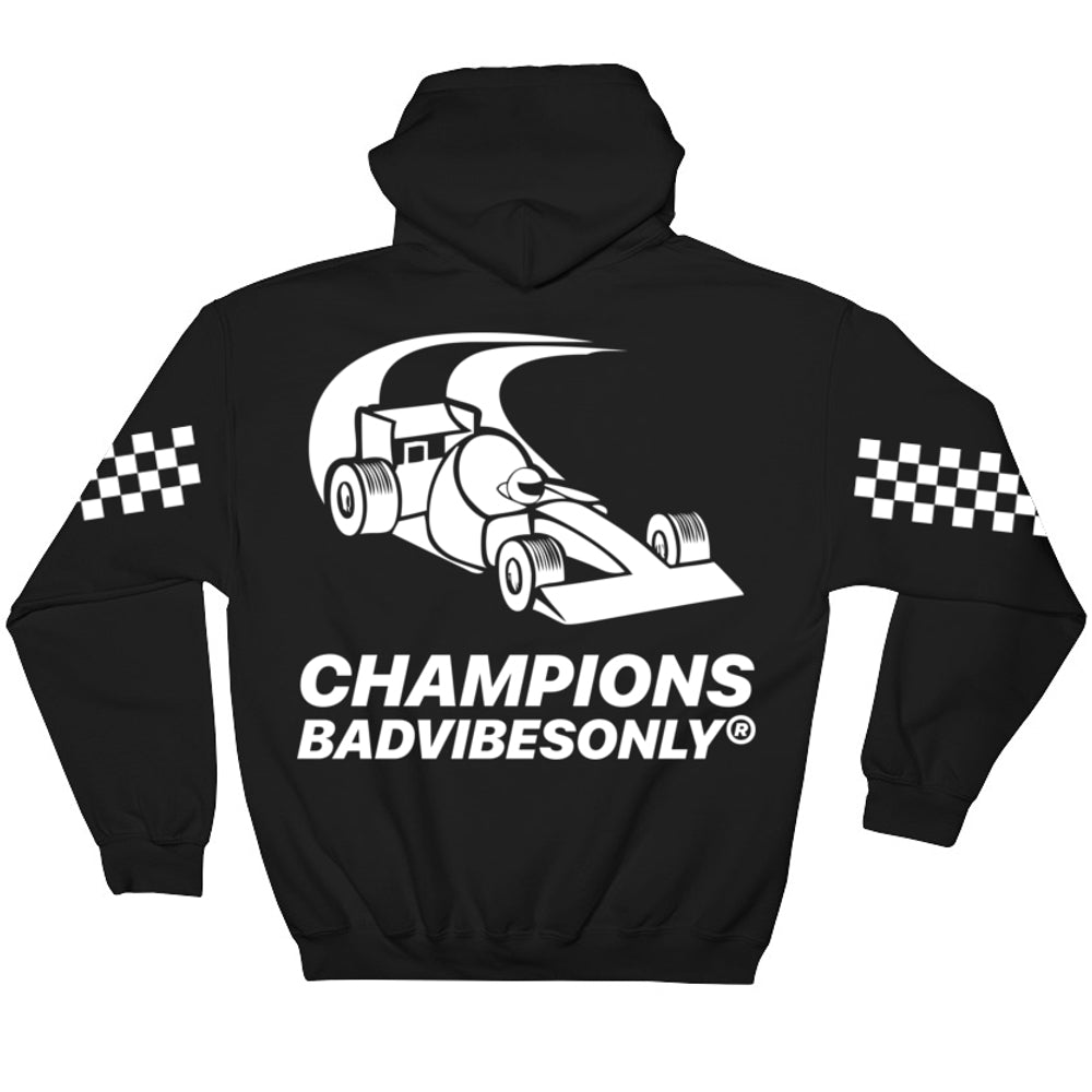 BADVIBESONLY® MOTORSPORT 2019® BLACK HOODIE (BACK)