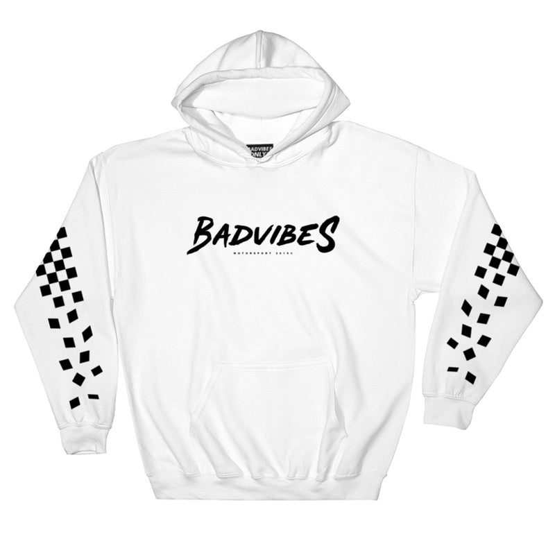 BADVIBESONLY® MOTORSPORT 2019® WHITE HOODIE (FRONT)