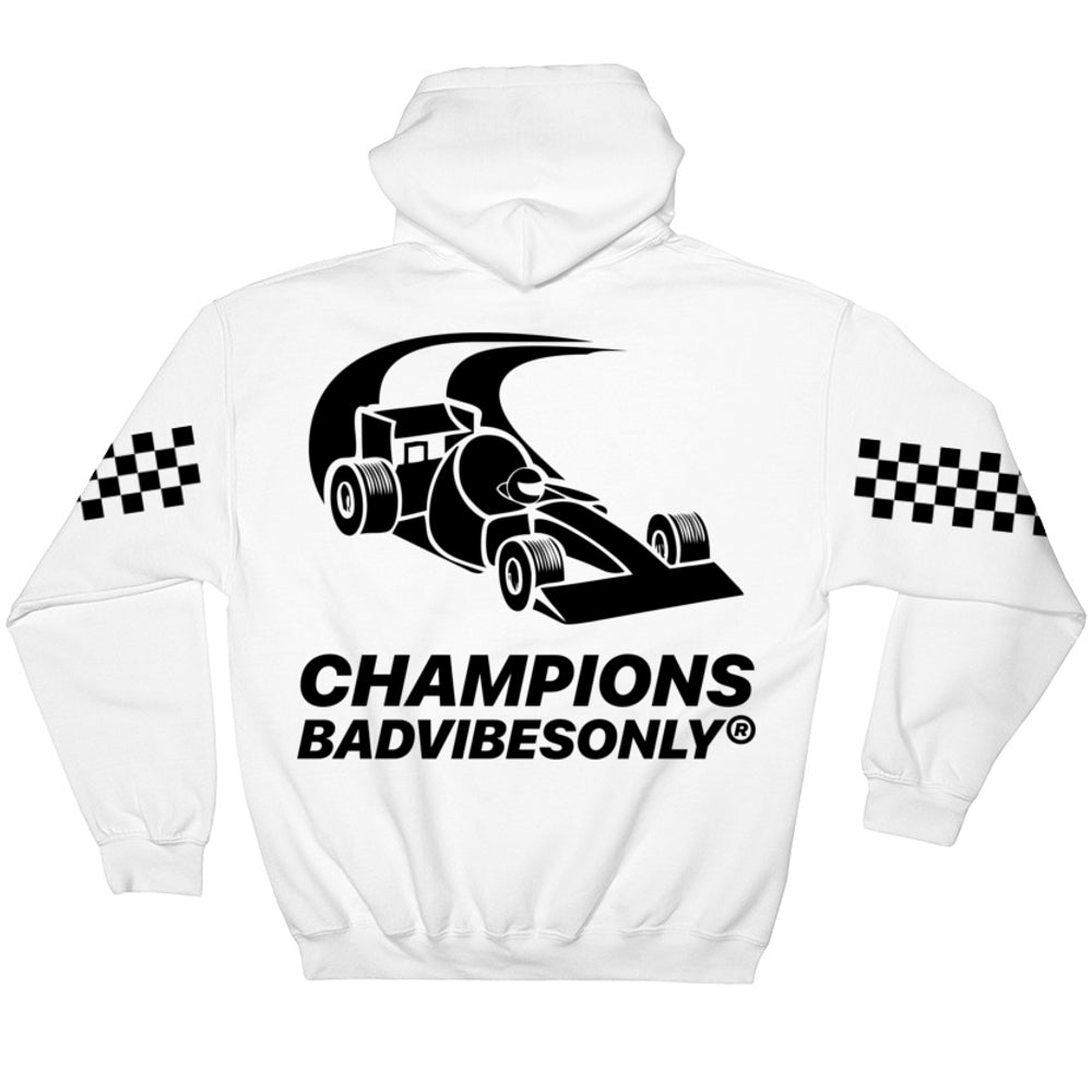 BADVIBESONLY® MOTORSPORT 2019® WHITE HOODIE (BACK)