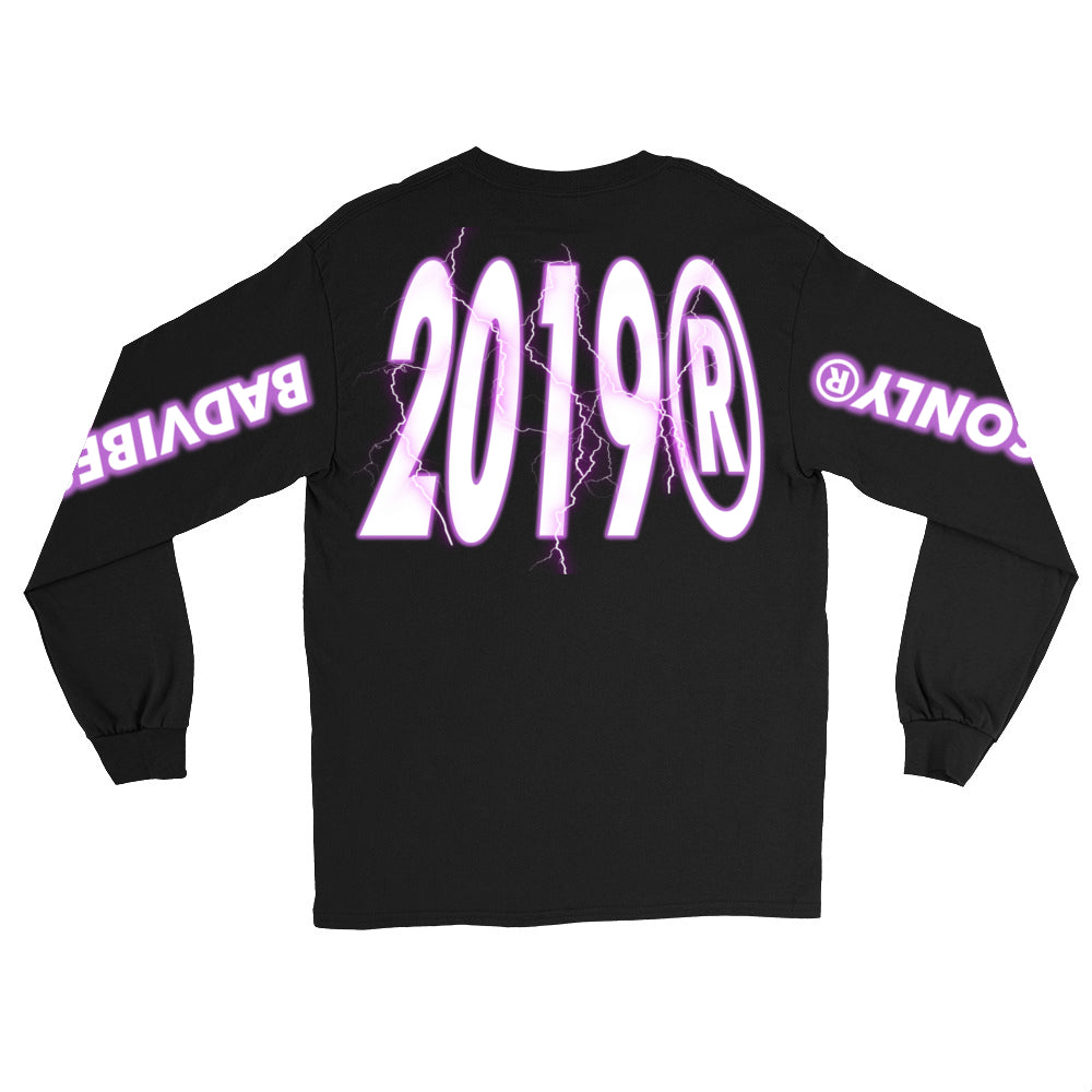 BADVIBESONLY® PURPLE THUNDER 2019® LONG SLEEVE T-SHIRT (BACK)