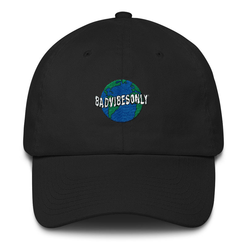BADVIBESONLY® WORLDWIDE BLACK BASEBALL CAP (FRONT)