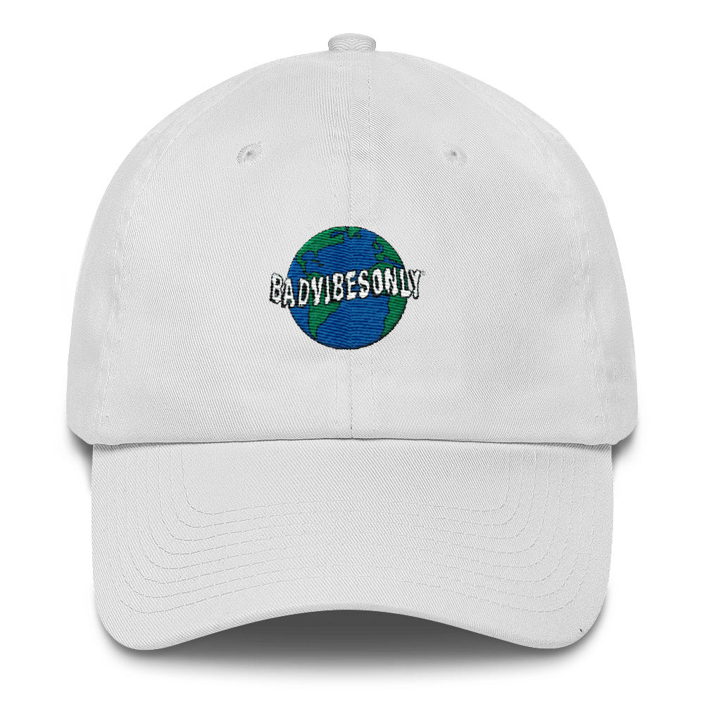 BADVIBESONLY® WORLDWIDE WHITE BASEBALL CAP (FRONT)