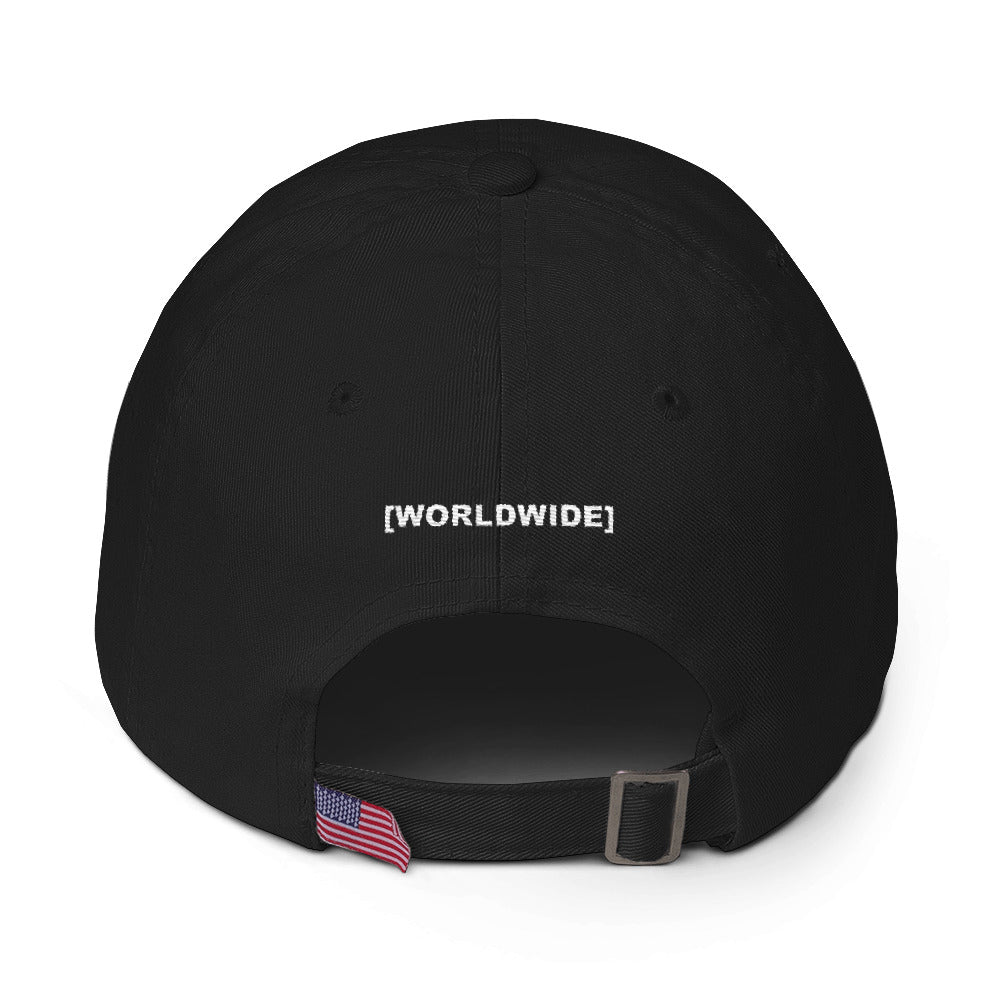 BADVIBESONLY® WORLDWIDE RED GLOBE BLACK BASEBALL CAP (BACK)