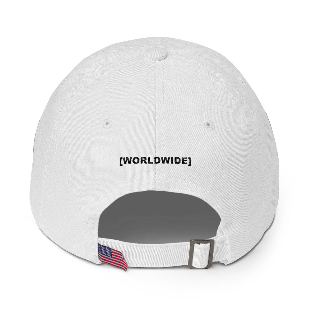 BADVIBESONLY® WORLDWIDE RED GLOBE WHITE BASEBALL CAP (BACK)