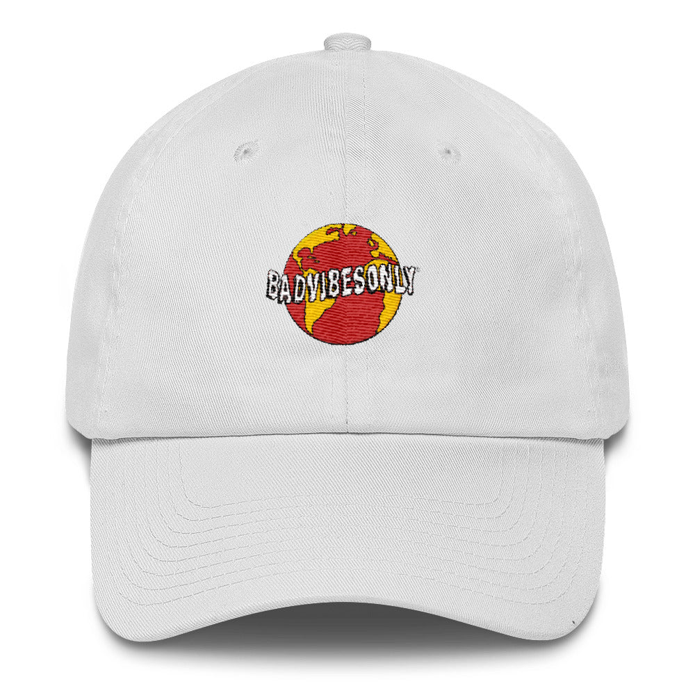 BADVIBESONLY® WORLDWIDE RED GLOBE WHITE BASEBALL CAP (FRONT)