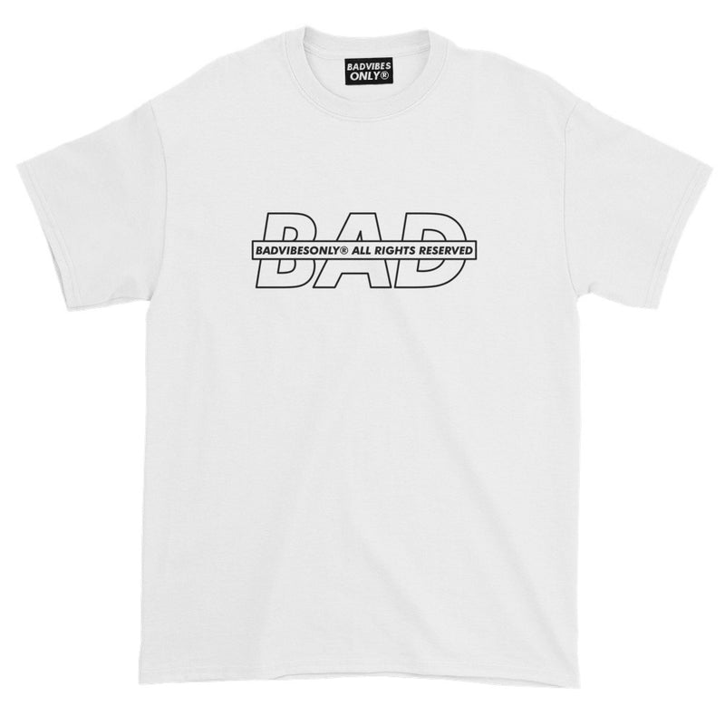 BADVIBESONLY® WORLDWIDE V2 WHITE T-SHIRT (FRONT)