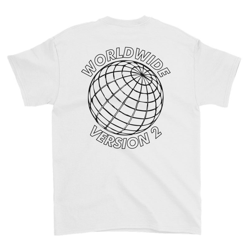 BADVIBESONLY® WORLDWIDE V2 WHITE T-SHIRT (BACK)