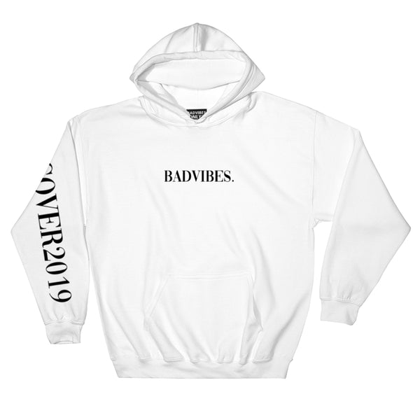 BADVIBESONLY® WHITE COVER2019 HOODIE (FRONT)