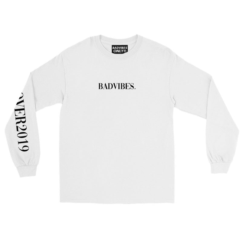 BADVIBESONLY® WHITE COVER2019 LONG SLEEVE T-SHIRT (FRONT)