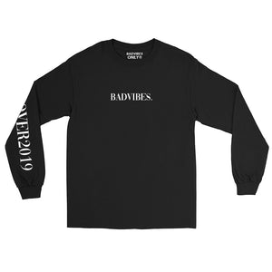 BADVIBESONLY® BLACK COVER2019 LONG SLEEVE T-SHIRT (FRONT)