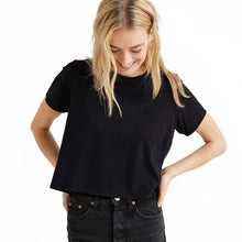 Shop The Woods Richer Poorer organic pima cotton crop cropped tee t-shirt pocket black classic