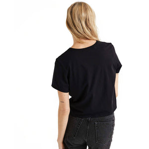 Shop The Woods Richer Poorer organic pima cotton boxy crop cropped tee t-shirt pocket black classic
