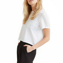 Shop The Woods Richer Poorer organic cotton crop cropped tee t-shirt pocket white classic