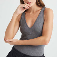 The Woods richer poorer double layered perfec bodysuit body suit v neck tank charcoal heather grey