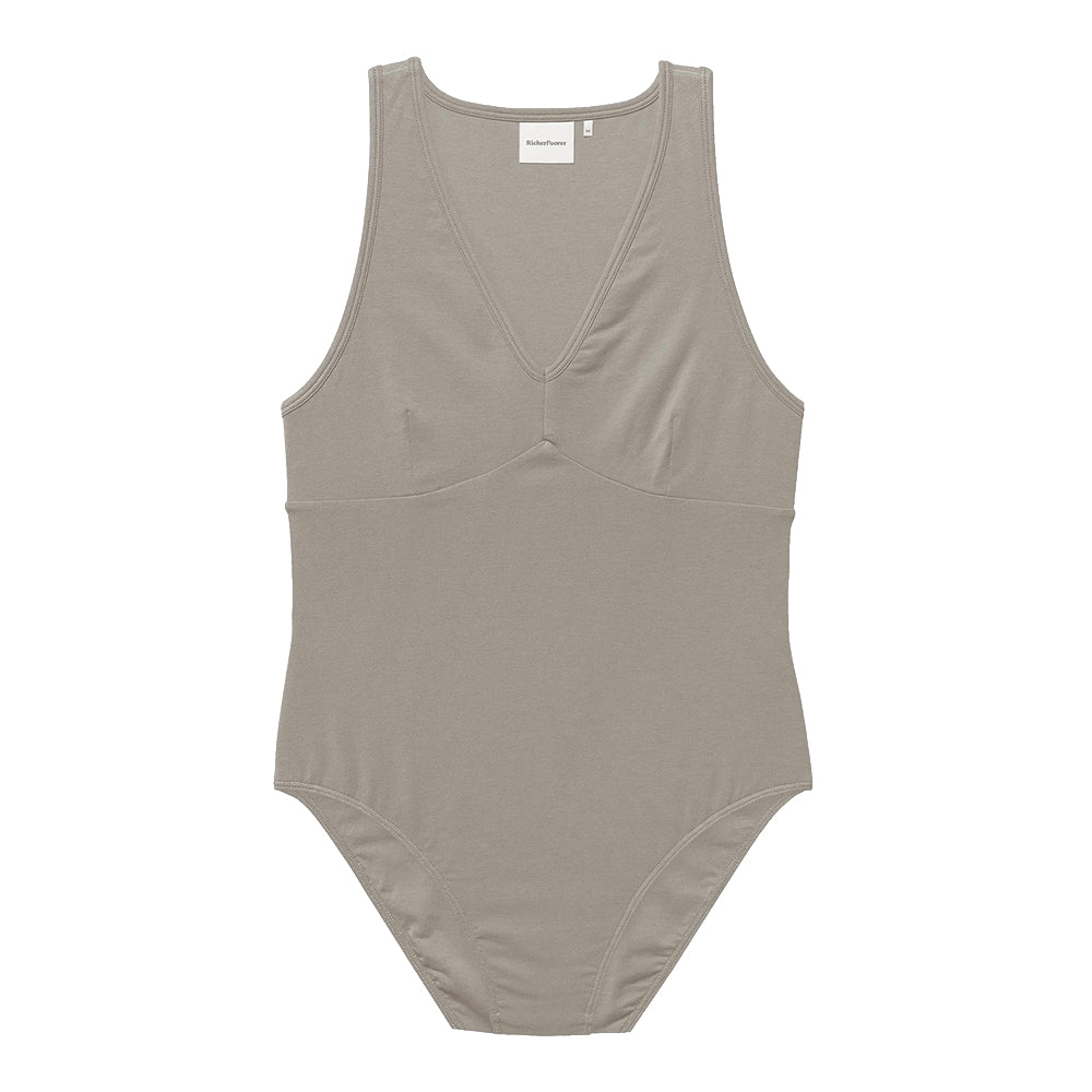 The Woods richer poorer double layered perfec bodysuit body suit v neck tank warm grey