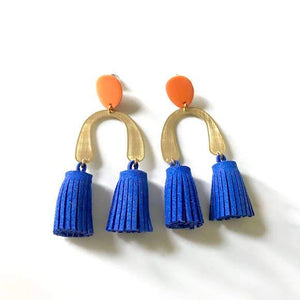 The Woods Candid Art Oakland Jewelry Lola earrings tassle brass vegan leather blue
