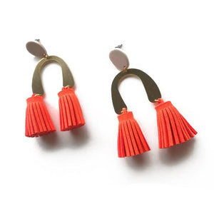 The Woods Candid Art Oakland Jewelry Lola earrings tassle brass vegan leather orange