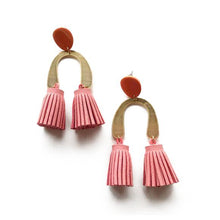 The Woods Candid Art Oakland Jewelry Lola earrings tassle brass vegan leather pink